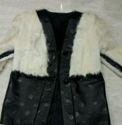 Новая, красивая куртка из натуральной кожи и меха