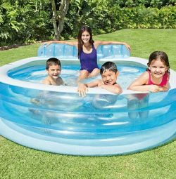 Family pool with headrest 224 * 216 * 76