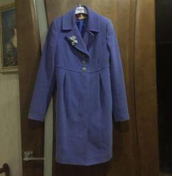 Пальто голубого цвета в идеальном состоянии