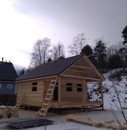 Log houses, baths, gazebos.