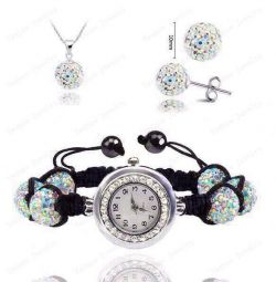 Set: earring-necklace clock