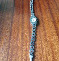 Годинники з браслетом срібло з камінням