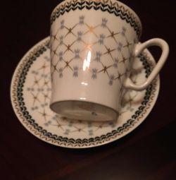 Кофейная пара (чашка +блюдце)Костяной фарфор . ЛФЗ