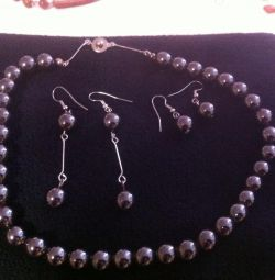 Hematite necklace and earrings