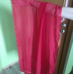 Red silk scarf / shawl