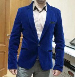 Χρησιμοποιημένο μπουφάν μπλε βελούδινο Tuxedo