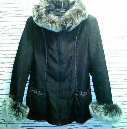 Women's jacket with natural fur of a polar fox 2 in 1