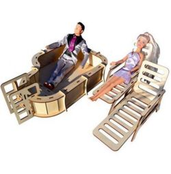 Pool with deckchairs for dolls