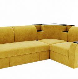 Угловой диван Фараон-на дельфине(желтый)