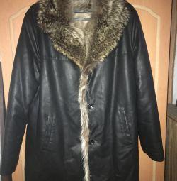 Genuine leather fur jacket