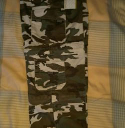 Camouflage pants are transformed into new shorts.