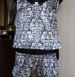 Top + shorts, silk