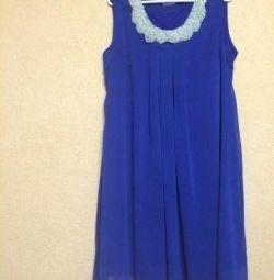 Очень красивое синее (шифоновое) платье
