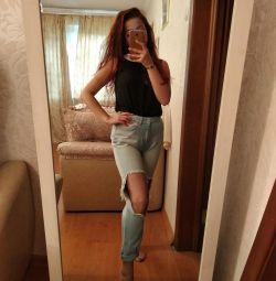Рваные джинсы 46р