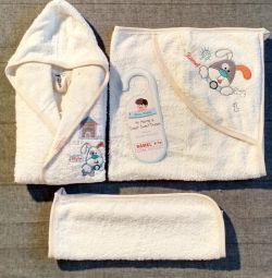 Set bathrobe terry baby towel baby