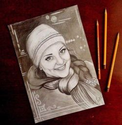 Portrait on a photo to order. Pencil and coal