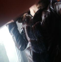 Δερμάτινο μπουφάν με γούνινο ελατήριο \ φθινόπωρο