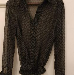 Translucent black viscose blouse