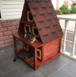 Street house for cat warmed with heating