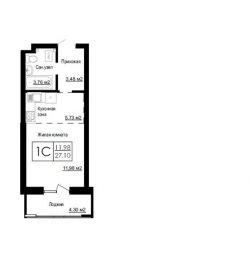 Квартира, вільне планування, 27.1 м²
