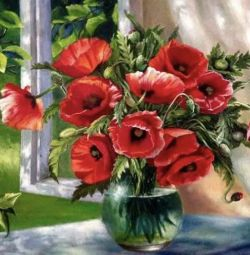 Poppies in a vase diamond mosaic embroidery