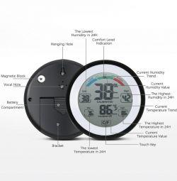 Θερμόμετρο Υγρόμετρο με οθόνη αφής
