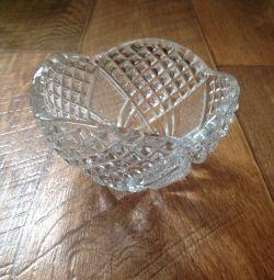 Crystal vase, diameter 14 cm