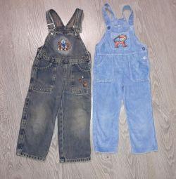 Три комбеза джинсовые и вельвет