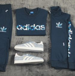 Costum de trei piese albastru adidas