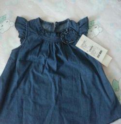 Новое джинсовое платье на рост 74