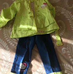 Непромокаемые куртка с джинсовой штанами