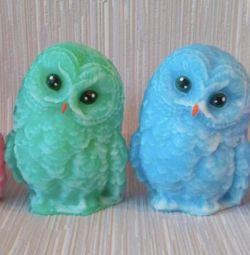 New Year's owls, handmade soap