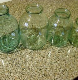 Different glass jars