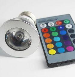 RGB 3W E27 multi-color spotlight with remote control