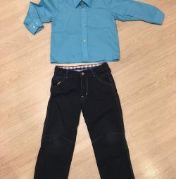 Erkek başına gömlek + pantolon