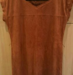 Платье туника из натуральной замши