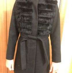 Coat with rabbit fur inserts