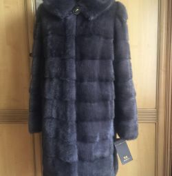 New mink coat with graphite hood