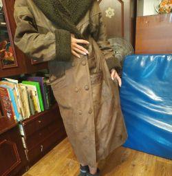 Δερμάτινο παλτό, γνήσιο δέρμα με επεξεργασία, γυαλιστερό L