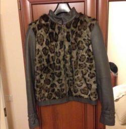 Кожаная утеплeнная куртка с мехом козы