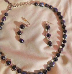 Комплект з натурального чeрного перлів і гематит