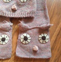 Комплект (шапка + шарф) осінь зима на 7-9 років