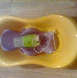 Children's bath, slide for bathing, heater.