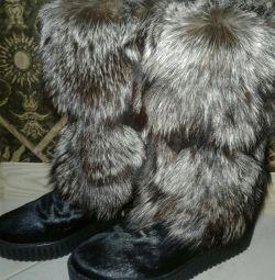 High fur boots (boots), natural