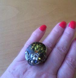 Ασημένιο δαχτυλίδι, νέοι, κοσμηματοπωλεία της Ουράλ, πορτοκαλί