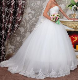Wedding dress with a train