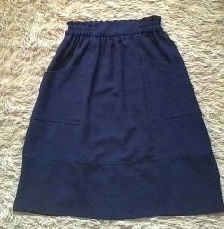 Skirt ZARA midi blue with elastic