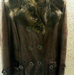 Palton de oaie cu curea, piele, 46-48 rr