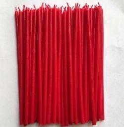 Свечи восковые красные