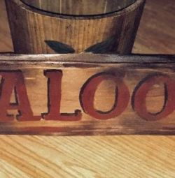 Vintage looking hand painted wood Saloon sign